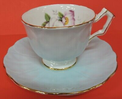 Aynsley Footed Cup & Saucer Set-Light Blue & White W/Flowers-Gold Trim-#20