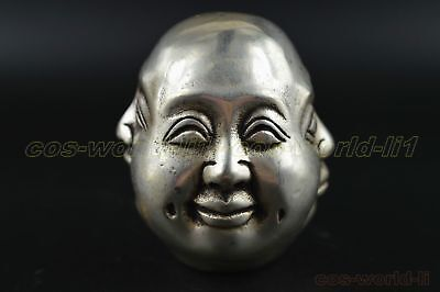 antique Old tibet Silver 4 faces buddha head statue Figures 6cm
