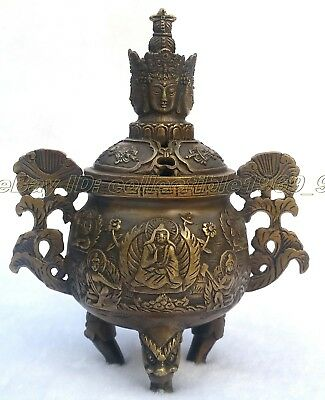 Collection Vintage Bronze Statues Dragon lucky Buddha Incense Burner /Censer 145
