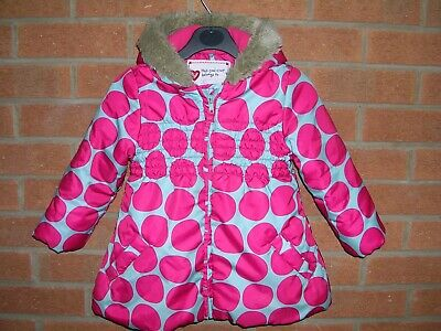 MARKS & SPENCER Girls Blue Pink Polka Dot Winter Coat Hooded Jacket Age 2-3 98cm