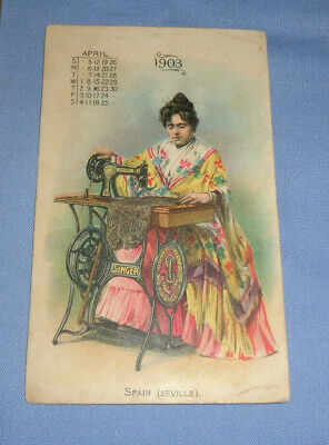 1903 April Spain Seville Singer Automatic Sewing Machine Trade Card