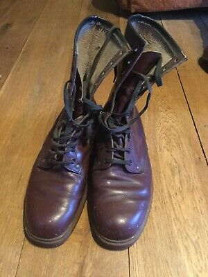 Vintage Brown Leather 11 Hole Boots Size 9