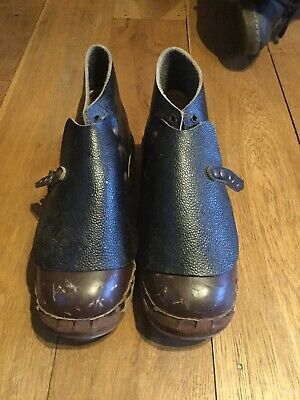 Vintage Lancashire Leather And Wooden Clogs
