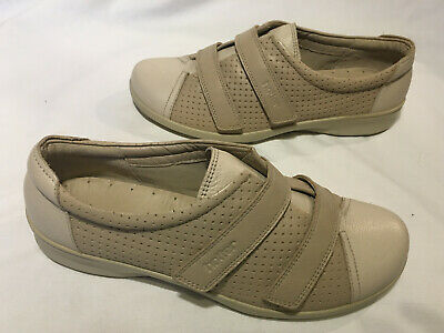Hotter ~ Natural Beige Leather Hook & Loop Strap Flats Shoes SIze 6.5 Wide New