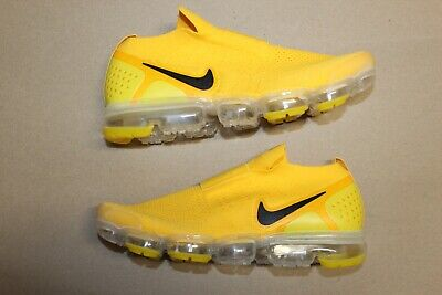 Men's Nike Air Vapormax Flyknit Moc 2 Laceless Size 11 Yellow Black Vapor Max