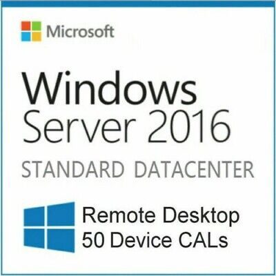 Microsoft Windows Server 2016 Standard/Datacenter Edition RDS 50User/Device CALs