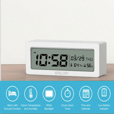 Electric LED Alarm Clock With Phone Wireless Charger Digital Thermo time memory