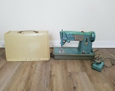 Vintage Turquoise Singer 327K Sewing Machine Made in Great Britain-Working
