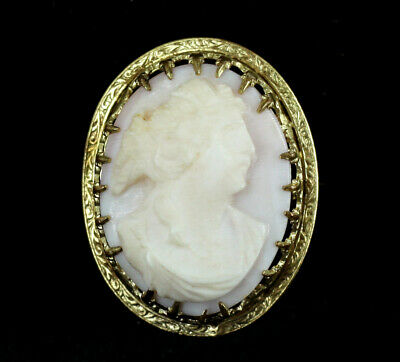 Antique Victorian Pink Shell Cameo Gold Filled GF Fleur de Lis setting Pin Brooc