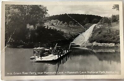 RPPC Postcard PC Kentucky KT Green River Ferry Near Monmouth Cave Park 1930s