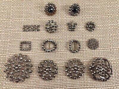 Antique Victorian Faceted Steel Findings Buckles Clips Buttons 14 Piece Lot