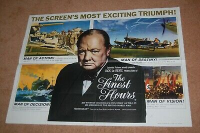 The Finest Hours (1964) - V. Rare Orig. Uk Quad Poster - Winston Churchill