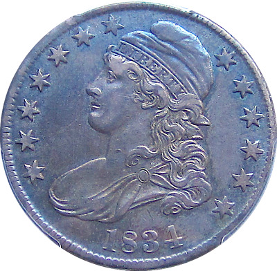 1834 Capped Bust Half, O-113, Large Date, Small Letters, Blue Toning, PCGS AU50
