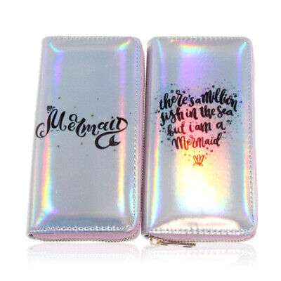 1PC Women Shell Holographic-Laser Faux Leather Long Wallet Clutch Purse Charm