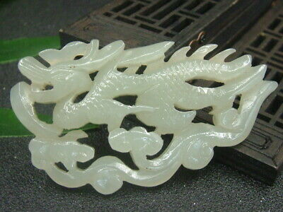 Antique Chinese Nephrite Celadon-Hetian-OLD- Jade Hollow Dragon Statue/Pendant