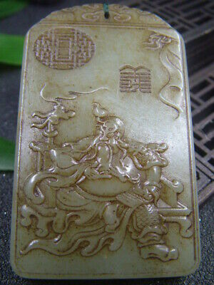 Antique Chinese Nephrite Celadon-HETIAN-OLD-Jade  GUANGONG Statues/Pendant