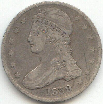 1839 Capped Bust Half Dollar, Reeded Edge, Fine Detail, True Auction, No Reserve