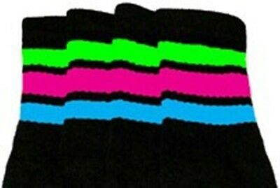 """25"""" KNEE HIGH BLACK tube socks with BABY BLUE stripes style 1 25-32"""