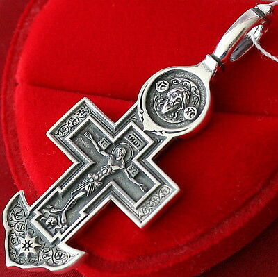 Russian Greek Sailors Orthodox Body Crucifix Mother Of God Icon 925 Silver