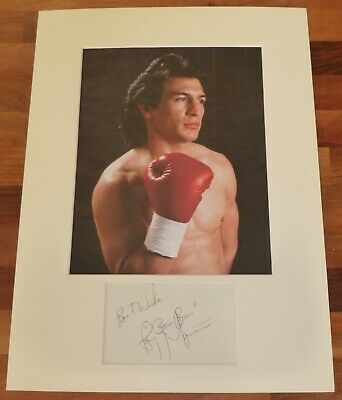 RAY MANCINI-A Hand Signed Card is Presented With A Photo-Mounted & Matted,COA