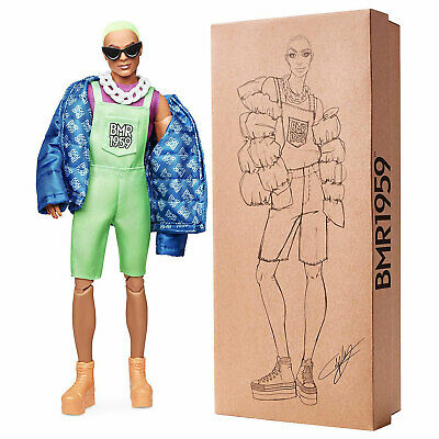 Barbie BMR1959 Fashion Doll Ken with Neon Hair and neon Green Overalls (GHT96)