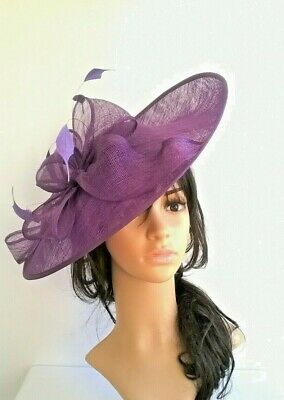 Purple Hatinator..Sinamay shaped saucer disc Wedding.races.ascot.new.