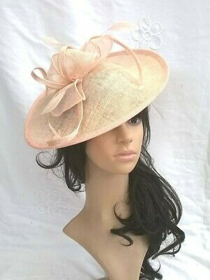 Nude Blush Fascinator Sinamay & Feather Shaped saucer disc,Wedding Fascinator