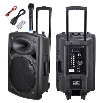 15-Inch 1500W Rechargeable Bluetooth Active PA Speaker System with Mic & Remote