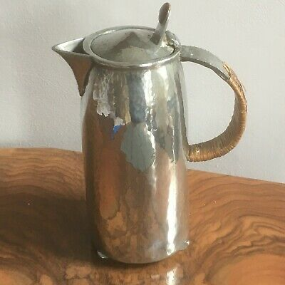 Arts & Crafts Archibald Knox hammered pewter lidded hot water jug 02310