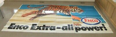 1969 Humble Oil Co. ENCO Running Tiger Alive w/ Power Billboard 22' x 10' Unused