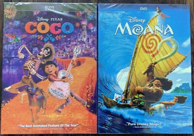 Moana  AND COCO (DVD, 2017) New & Sealed w/ Slipcover FREE Shipping