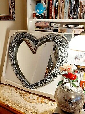 Large Heart Wall Mirror Ornate Antique lounge hall Silver French Rose 67x58cm