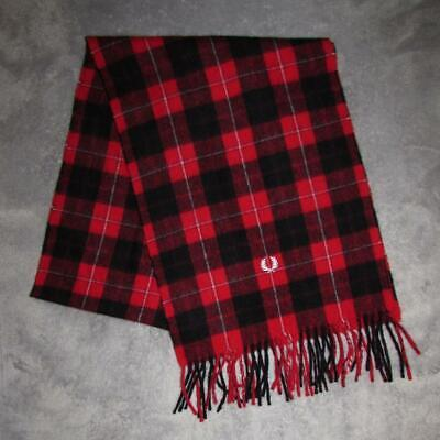 Fred Perry Wool & Cashmere Tartan Check Patterned Fringed Neck Scarf.