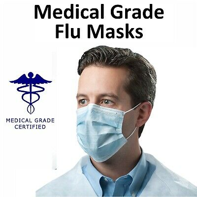 Surgical Grade 3ply Face Masks Earloop Flu Virus Dust Mask Medical Quality lot