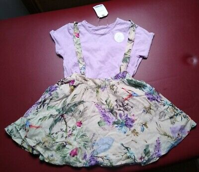 Next 2pce set-top+fully lined dungaree style skirt-4-5yrs-bnwts