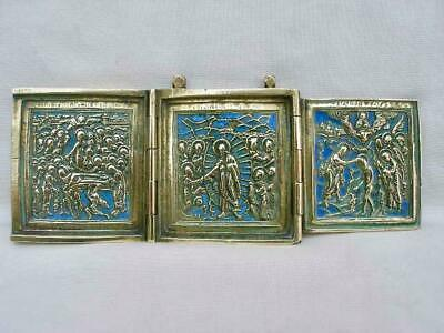 Superb Russian Antique Brass Triptych Travelling Icon.