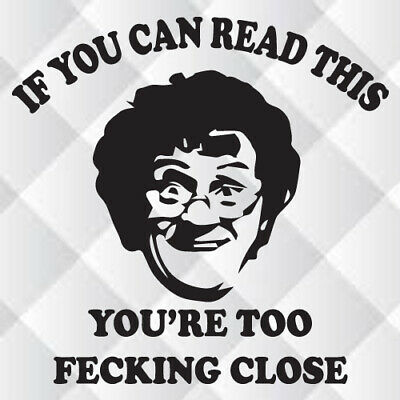 TOILET SEAT STICKER DECAL WALL QUOTE MRS BROWN IF U TINKLE WIPE THE FECKIN SEAT