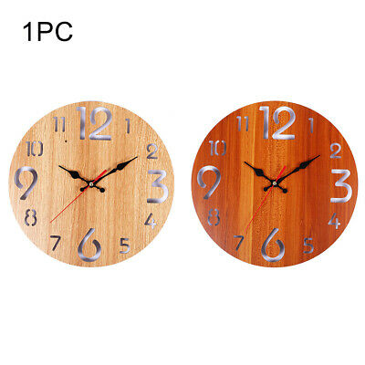 12inch Battery Operated Arabic Numerals Wall Clock Rustic Wooden Kitchen Round