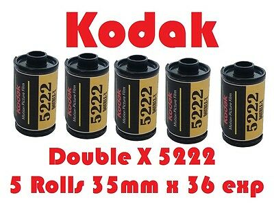 Kodak EASTMAN 5222 DOUBLE-X Five Pack Black & White 35mm x 36 Exp Film Fresh