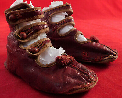 Vintage Victorian Red Leather High Button Three Strap Baby Boots Childrens Shoes