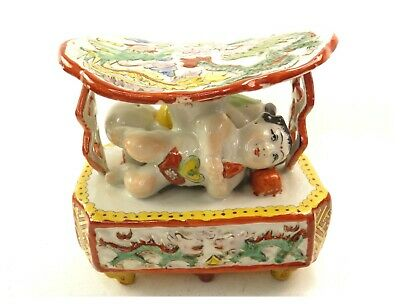 Antique Chinese ceramic pillow head rest hand painted dragons & sleeping figures
