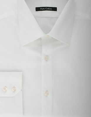 SECONDS Ex Store Satin Stripe Classic Collar Pure Cotton Shirt White 15 F873