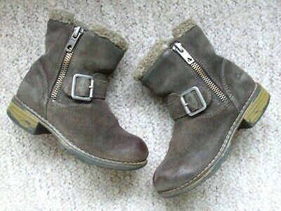 Girls Clarks Boots, Size 7F,  Mink Colour Suede. Buckle / Zip.