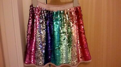 Girls H&M Rainbow sequin skirt and top age 8-9