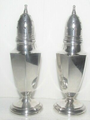 NOT Weighted STERLING SILVER Salt & Pepper Shakers Bottom Marked <M>