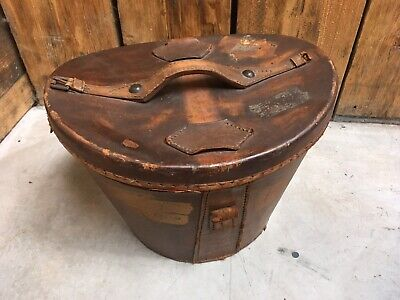 Antique Vintage Brown Leather Top Hat Case Box