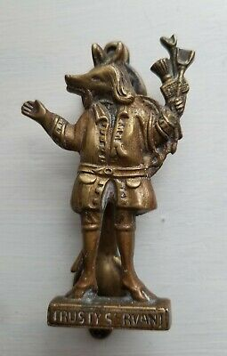 Vintage Brass~Trusty Servant Door Knocker Pig ? Dog