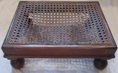 Antique Wooden Foot Rest With Woven Wicker Middle