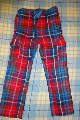 Boys Red Tartan Checked Mini Boden Trousers Age 4 Years Cargo Pants