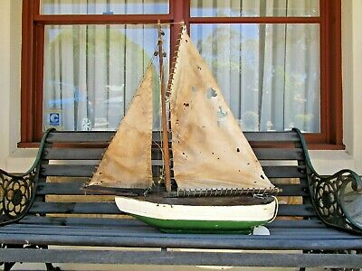 OLD POND YACHT SAIL BOAT TIMBER MODEL   - HAND MADE 1930 - 50's - BUY IT NOW